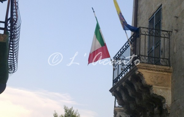Italian flag on the balcony